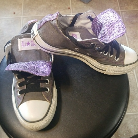 f2284b3667c6 Converse Shoes - CONVERSE ALL STAR SIZE 7 GRAY WITH PURPLE SPARKLE